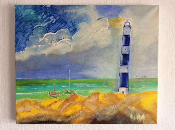 "Lighthouse ""Blue-White"" and coast"
