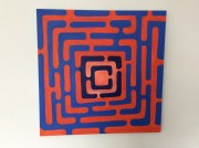 Labyrinth in Blau-Rot